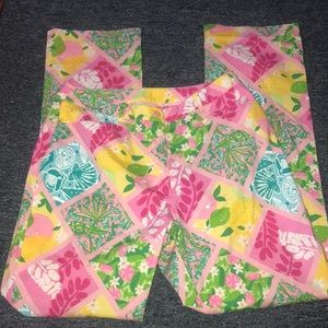 Lilly Pulitzer Plaid floral themed straight pants